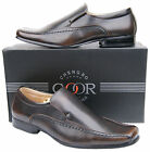 Mens New Brown Slip On Leather Lined Formal Fashion Shoes Free UK Postage