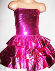 GIRLS BRIGHT PINK GLITZY SEQUIN RUFFLE EVENING PROM PARTY DRESS