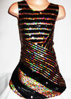 GIRLS 60s STYLE BLACK GOLD ABSTRACT STRIPE SEQUIN EVENING DISCO PARTY DRESS