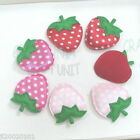 60-200 pcs Padded Satin Dot /Gingham Strawberry Appliques Red~Pink U Pick