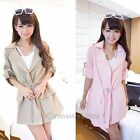 Womens Drawstring Long Sleeve Trench Jacket Wind Coat Outerwear Overcoat Tops