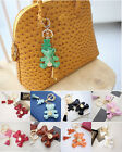 NEW POPKORS 225 Faux Ostrich Leather Bear Tassel Bag Charm Key Chain Ring Finder