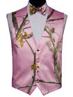 Real Tree Snow Camouflage Tuxedo Vest in Pink