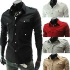 Korean Men Casual Fashion Stylish Slim fit Long Sleeve Solid Color Dress Shirt