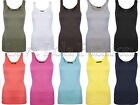 Womens Vests Tops Ladies Plain Cotton Basic Gym Vests Yoga Dance Wear Keep Fit
