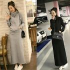 Women Hoodie Long Sleeve Back Slit Skirt Two-piece Hip Package Maxi Dress Set