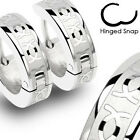 Pair of Stainless Steel CC Engrave Hinged Hoop Huggie Cuff Earrings