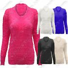 NEW LADIES FLUFFY V-NECK JUMPERS TOP WOMENS LONG SLEEVE MOHAIR LOOK KNIT TOPS