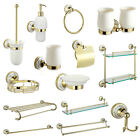 GOLD VICTORIAN STYLE SOLID BRASS WALL MOUNTED ROUND BATHROOM ACCESSORIES 14 SET
