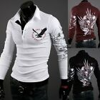 NEW Men's Casual Trendy Slim-Fit Tattoo Graphic Printed Design Polo T-Shirts