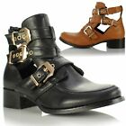 Ladies Womens Low Flat Cut Out Metal Buckle Trim Biker Chelsea Ankle Boots Shoes