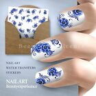 Beautiful High Quality Blue Flowers Nail Decals Water Transfer Stickers-22