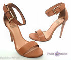RIHANNA River Island Nude Beige Leather Barely There Stiletto Sandals UK8 EU41