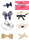 Punk biker vintage style cool black bow earrings, ring, set multiple choices