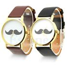 Mustache Faux Leather Band Vintage Dial Vintage Unisex Fashion Wrist Watch Gift