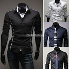 Mens Casual Suits Fit Long Sleeve Dress Shirt Blouse Tops Collection 4sz N98B