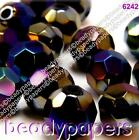 40 - 50 Round Faceted Glass Beads 10 mm Sparkling Black AB 6242