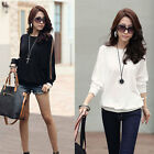 Fashion Women Batwing Dolman Long Lace Sleeve Loose T-Shirt Tops Blouses 2 Color