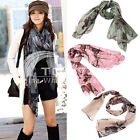 Begonia Flower Ink Style Scarf Long Cotton Neck Scarf Shawl Wrap Pashmina Scarve