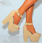 NUDE GOLD ANKLE CUFF PLATFORMS CHUNKY BLOCK HEEL WEDGES WEDGED HIGH HEELS