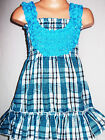 GIRLS BLUE MIX CHECK PRINT ROSETTE TRIM PARTY DRESS TOP & LEGGING
