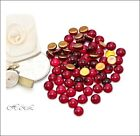 West German Siam Ruby Glass Flatback Round Cabochons Gold Foil 4mm CHOICE