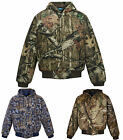 MENS HEAVYWEIGHT, QUILT LINED, CAMO, ZIP, HOODED JACKET, ZIPPERED POCKETS, S-4XL