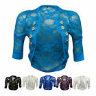New Womens Rouched Sleeve Military Style Floral Ladies Lace Shrug Balero Top