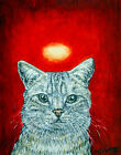 European Short hair cat angel art PRINT animals impressionism artist gift new