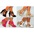 LADIES CHELSEA CUT OUTS CUTOUT BLOCK ANKLE BOOTS HIGH HEELS HEEL BUCKLE SHOES