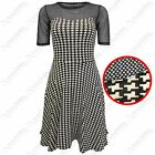 NEW LADIES MONO DOGTOOTH CHECK SKATER DRESSES WOMENS NET TOP SWING DRESS SKIRT