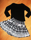 GIRLS TOP & BLACK WHITE TARTAN PRINT LACE RUFFLE PARTY SKIRT with BELT