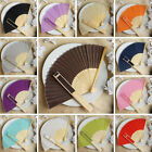 100 pcs HAND FANS Summer Silk Fabric Folding Wedding Favors Decorations Sale