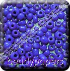 80g Glass Seed Beads Rocailles 6/0 Blue Opaque Lustre 3 mm - 4 mm 6266