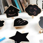 5 x Cute Mini Message Wooden Blackboard Note Photo Paper Clips, Decor 5 Styles
