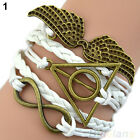 Handmade Multilayer Love Bracelet Angel Wings Deathly Hallows Chain Bangle B52U