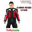 VIPER KIDS MOTORBIKE JACKET BLACK RED CE ARMOUR MOTORCYCLE CHILD YOUTH TEXTILE
