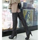 Ladies Leather Over The Knee Thigh High Heel Platform Womens Zip Up Boots Size-A