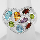 Natural Multi Stones Solid 925 Sterling Silver Cluster Ring Size #7 (r332)