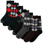 6 X Pairs Mens Argyle Suit Dress Socks Small Big Check Diamond Pattern UK 6-11