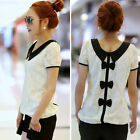 Vogue 1PC Fashion Women Casual Lace Chiffon Pan Collar T-Shirt Blouse Top