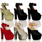 L4E Womens High Block Heels Shoes Peep Toe Platform Party Fashion Ladies Sandals