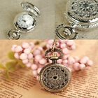 Hot Sale Tone Hollow Round Quartz Taschenuhr Pocket Watch Pendant Necklace Chain