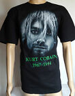 Nirvana Kurt Cobain Face 2 New Metal Rock Black T-Shirt Size X-Large