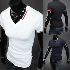 Mens Stylish Casual Short Sleeve Shirt Slim T-shirt Tops Blouse 5 Colors 4 Sizes