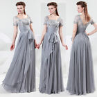 Long Chiffon Lace Evening Formal Bridesmaid Wedding Ball Gown Prom Party Dresses