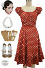 50s Style RUST & White POLKA Dot PLUS SIZE Peasant On/Off The Shoulder Dress