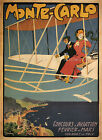 Monte Carlo Vintage French ad print poster, large 4 sizes available-France 236