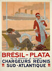 Rare vintage Bresil-Plata Maritime ad print poster, 4 sizes available-Boat 38