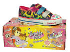 GIRLS SKECHERS TWINKLE TOES DENIM VELCRO LIGHT UP SHOES
